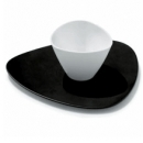 6 coffee cups with black saucers